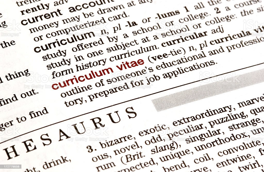 Dictionary Definition Curriculum Vitae Stock Photo