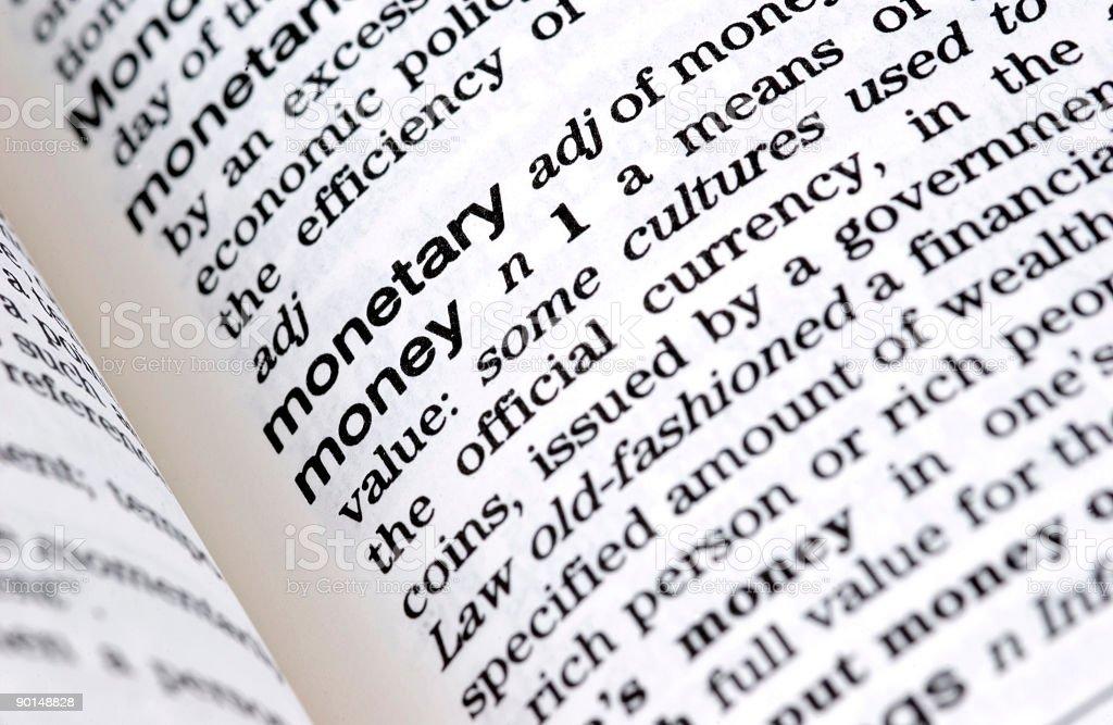 Wörterbuch-Definition: Geld - Lizenzfrei Alphabet Stock-Foto