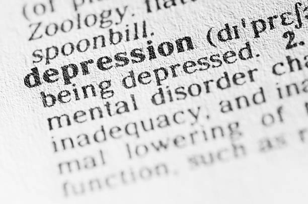 wörterbuch-definition der depression in schwarz art - definition krankheit stock-fotos und bilder