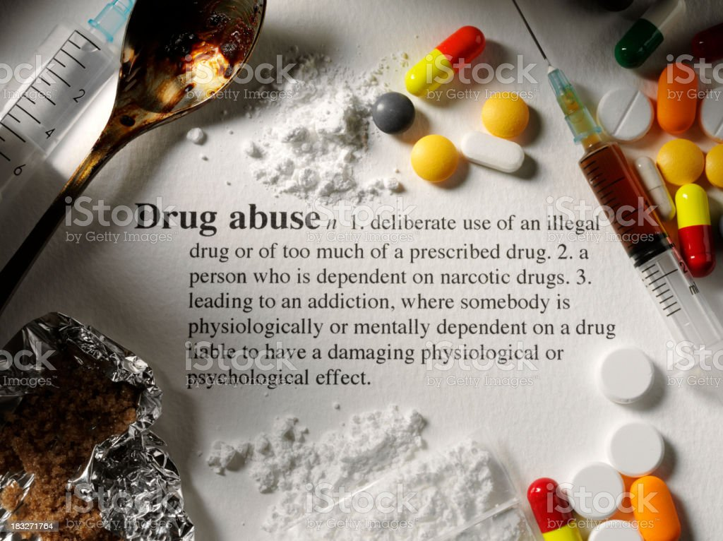Dictionary Definition of Drug Abuse stock photo