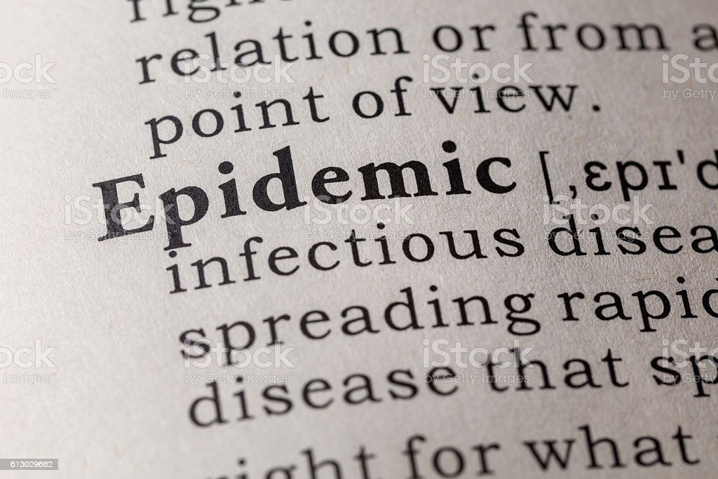 Dictionary definition of epidemic stock photo