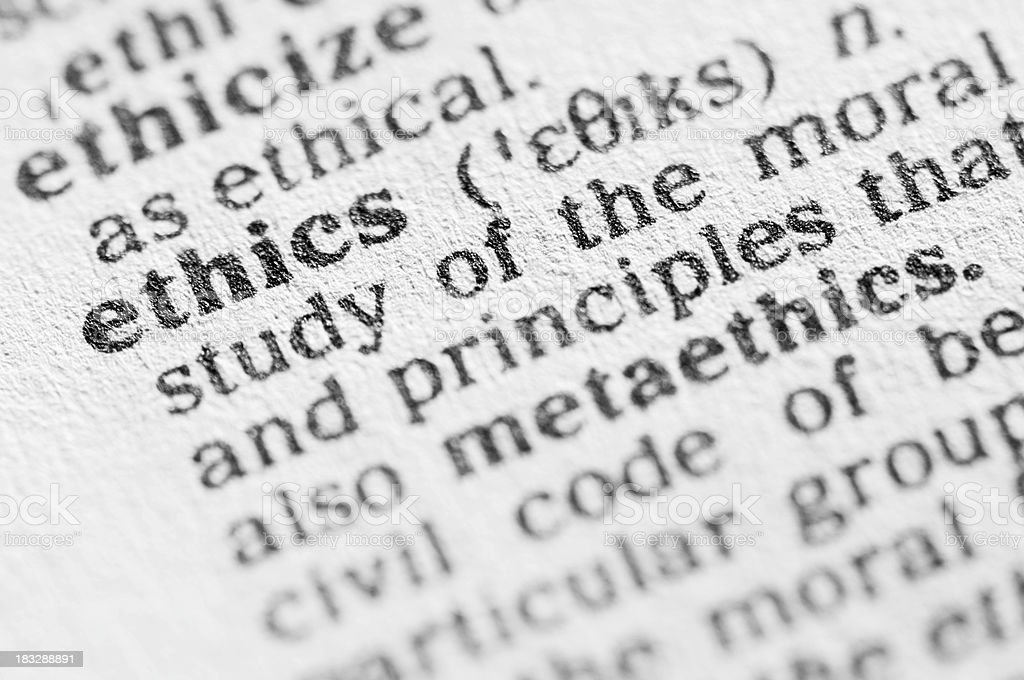 Dictionary definition of ethics in black type royalty-free stock photo