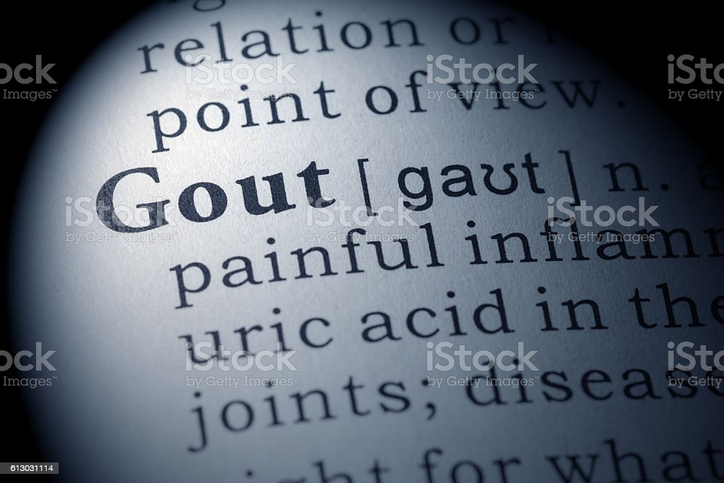 Dictionary definition of gout stock photo