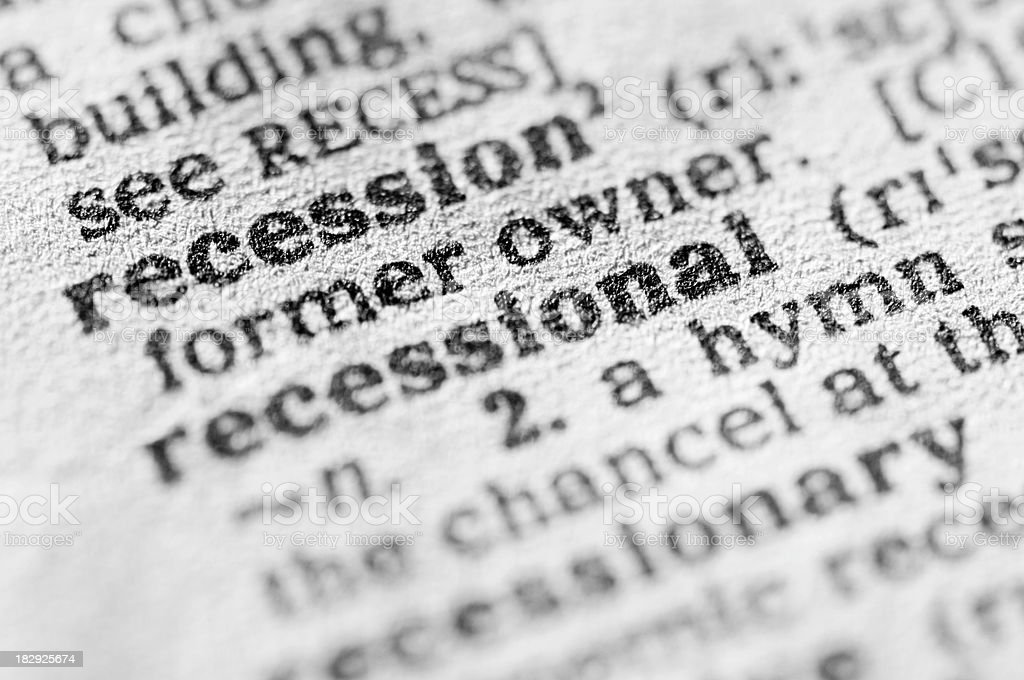 Dictionary definition of recession in black type royalty-free stock photo