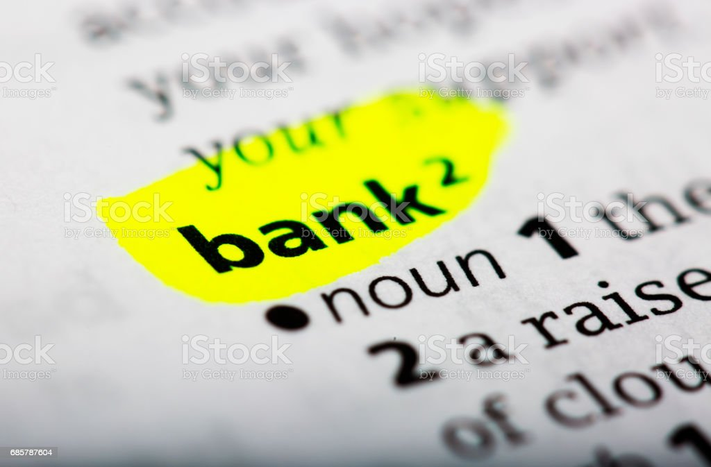 Wörterbuch-definition von dem Wort bank Lizenzfreies stock-foto