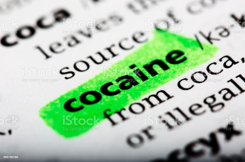 Dictionary definition of the word cocaine royalty-free stock photo
