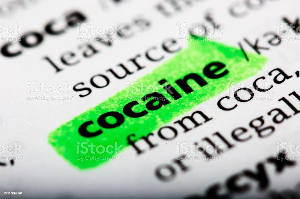 Définition du dictionnaire de la cocaïne de mot photo libre de droits