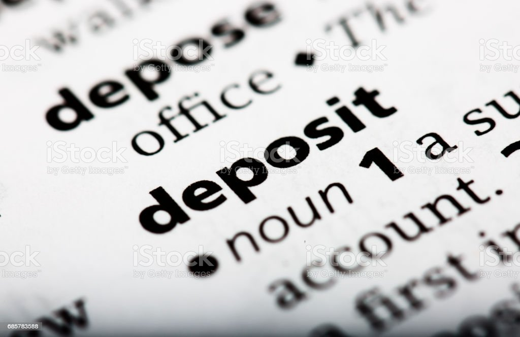 Dictionary definition of the word deposit royalty-free stock photo