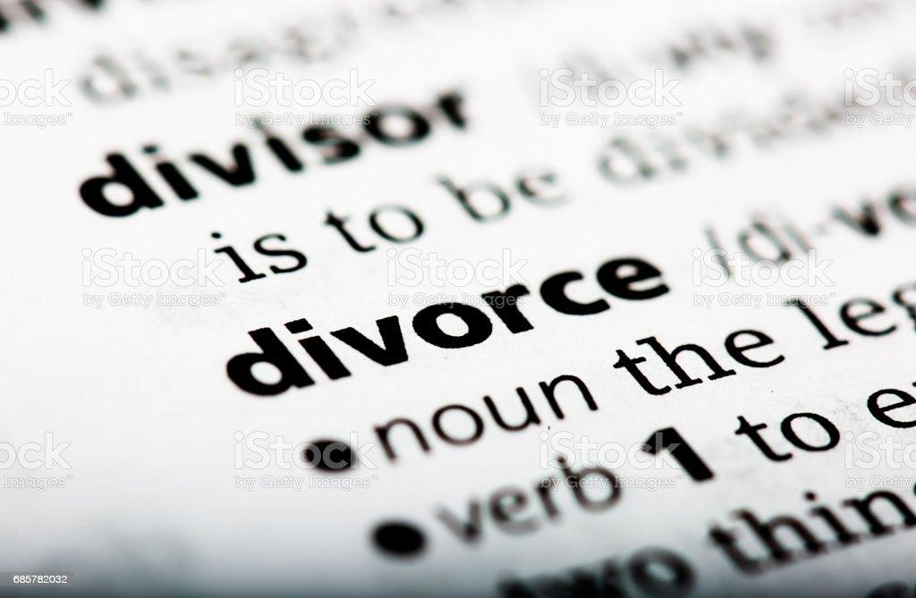 Wörterbuch-Definition für das Wort Scheidung Lizenzfreies stock-foto