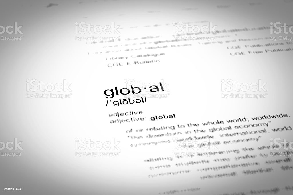Dictionary definition of the word global, close up, selective focus foto royalty-free