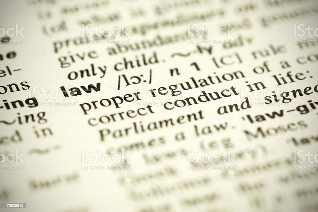 Dictionary definition of the word Law stock photo