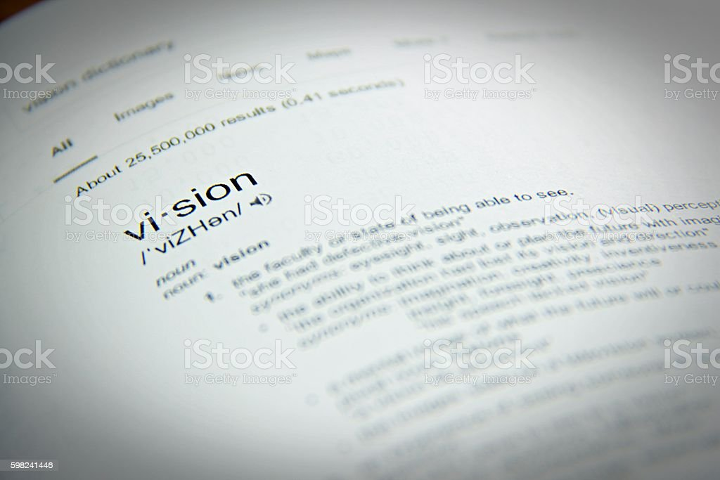 Dictionary Definition Of The Word Vision Close Up Selective Focus