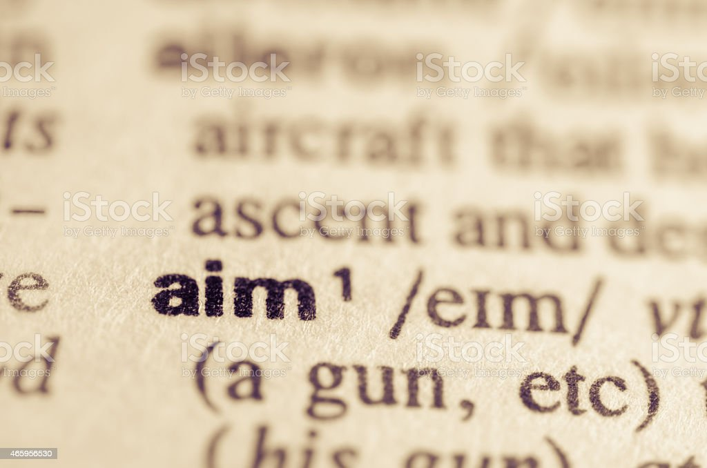 Dictionary definition of word aim stock photo
