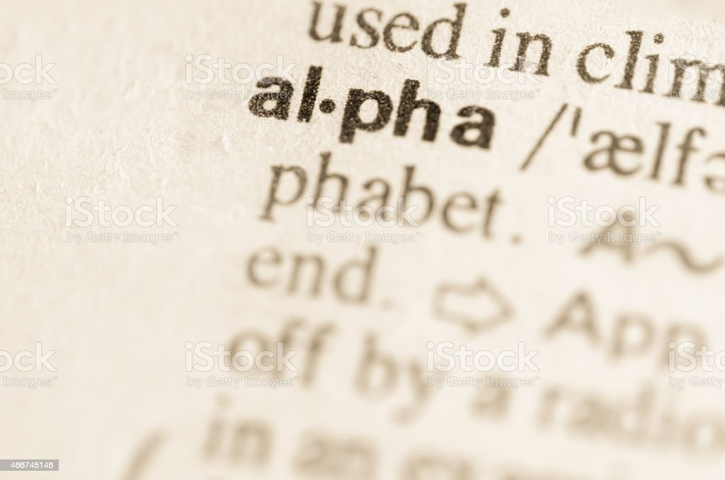 Dictionary definition of word alpha stock photo