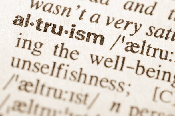 Dictionary definition of word altruism stock photo
