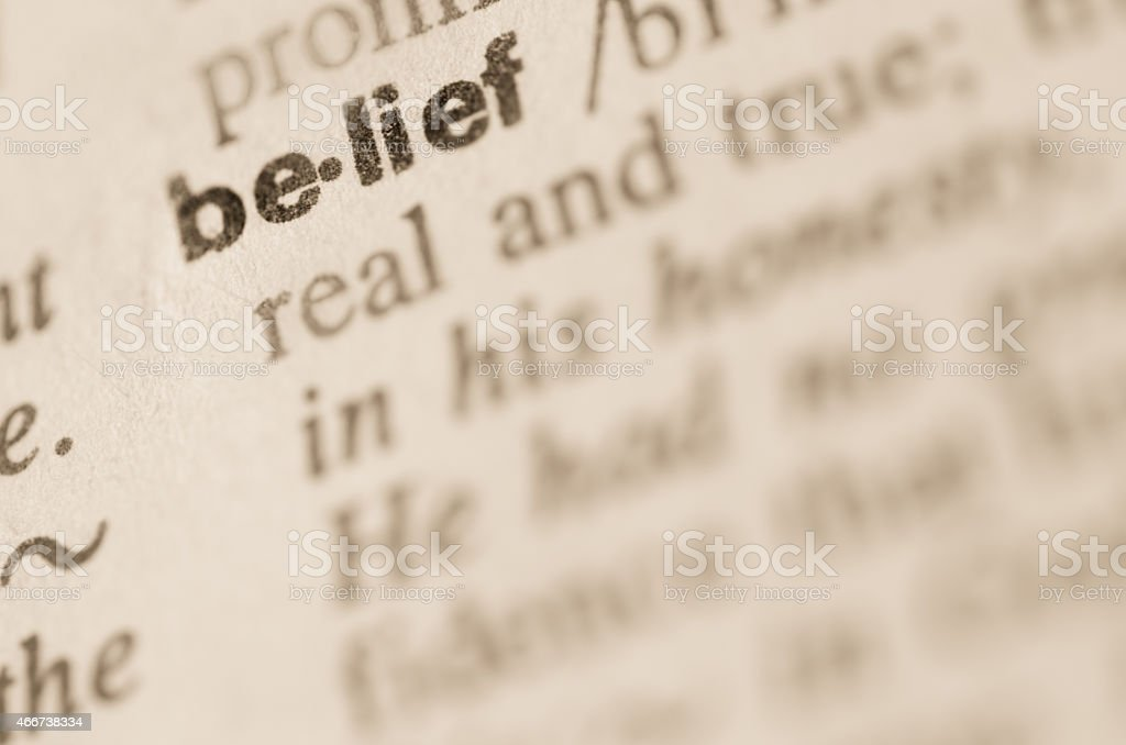 Dictionary definition of word belief stock photo