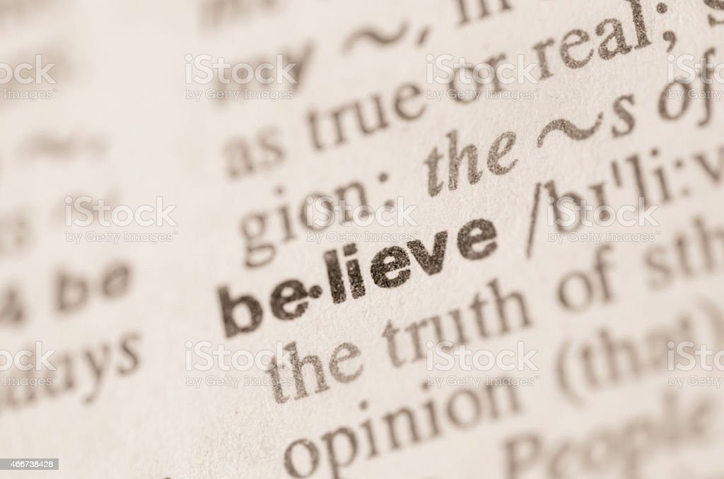 Dictionary definition of word belive stock photo