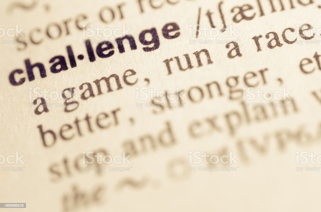 Dictionary definition of word challenge stock photo