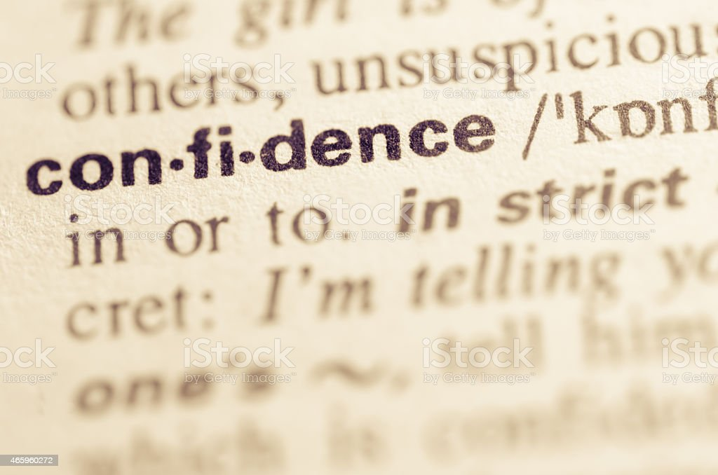 Dictionary definition of word confidence stock photo