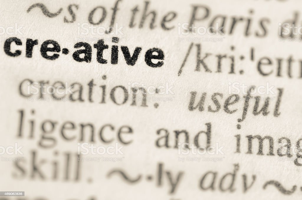 Dictionary definition of word creative stock photo