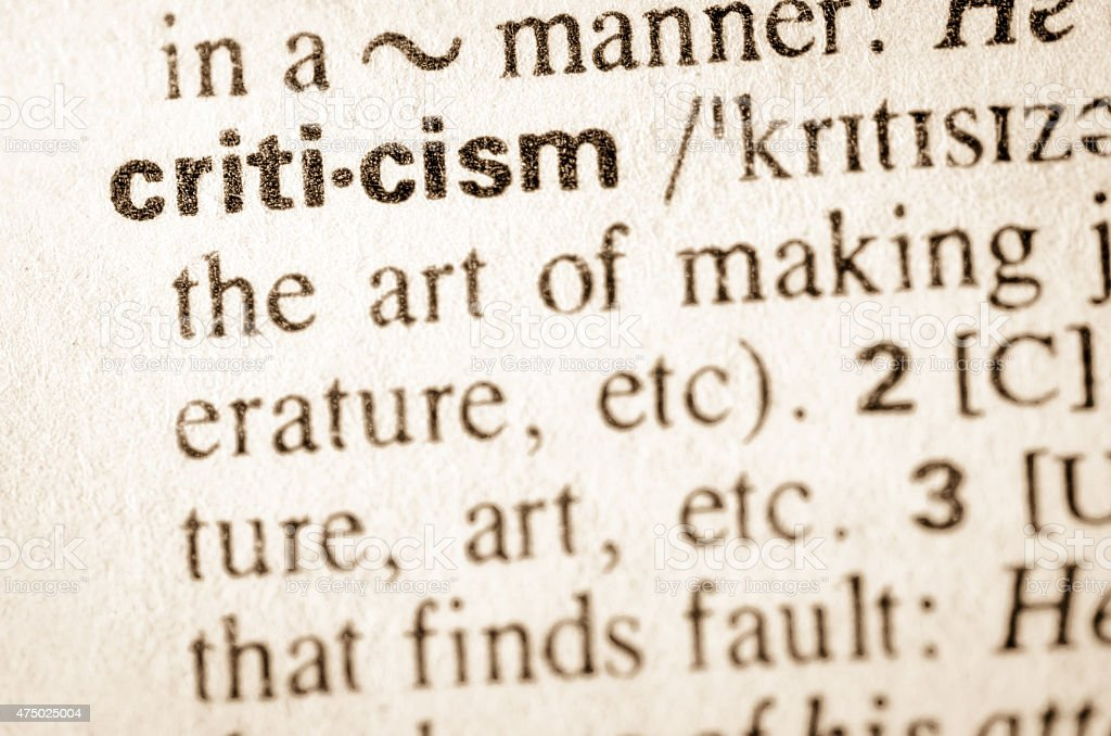 Dictionary definition of word criticism stock photo
