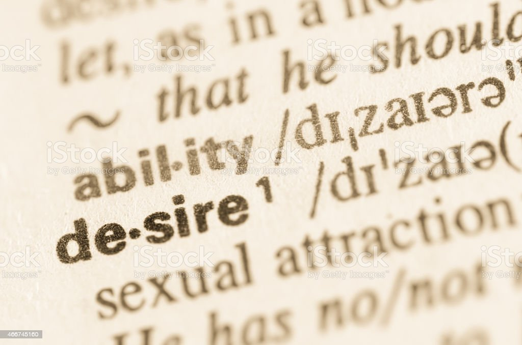 Dictionary definition of word desire stock photo