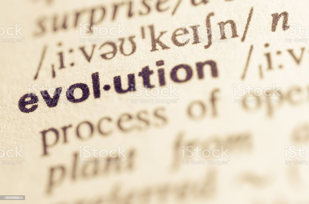 Dictionary definition of word evolution stock photo