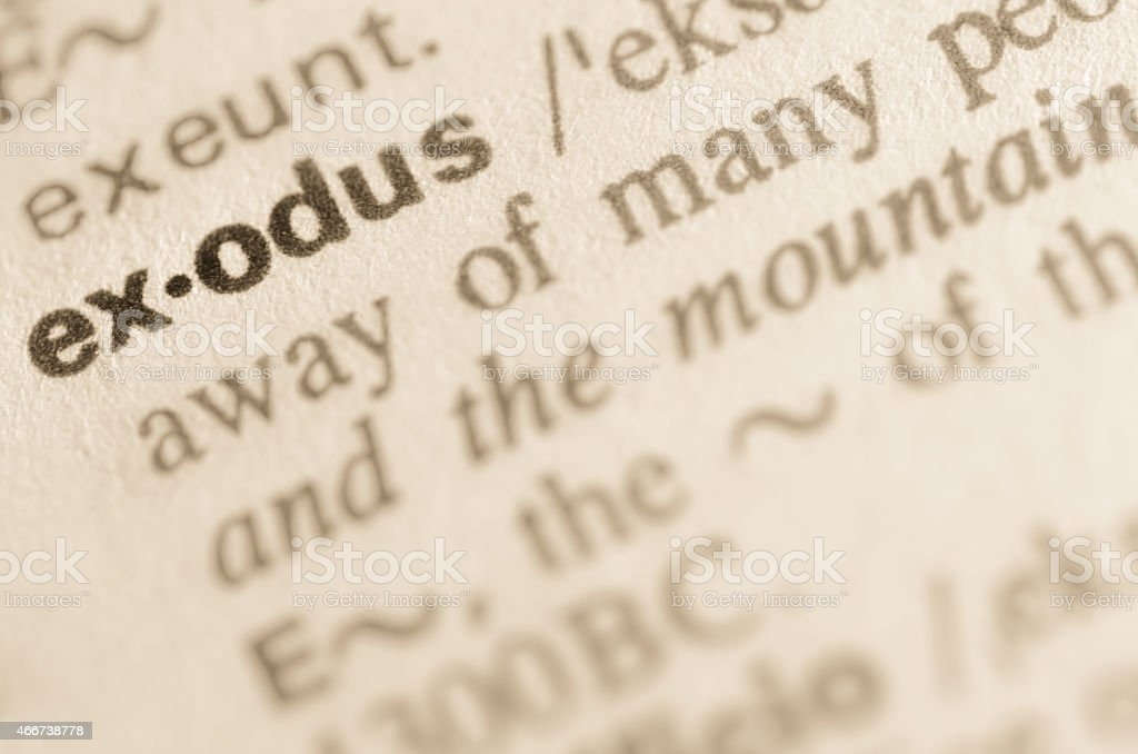 Dictionary definition of word exodus stock photo