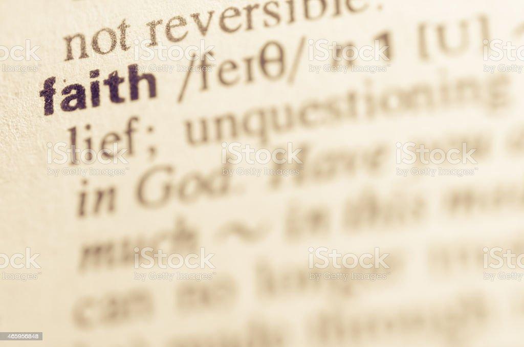 Dictionary definition of word faith stock photo