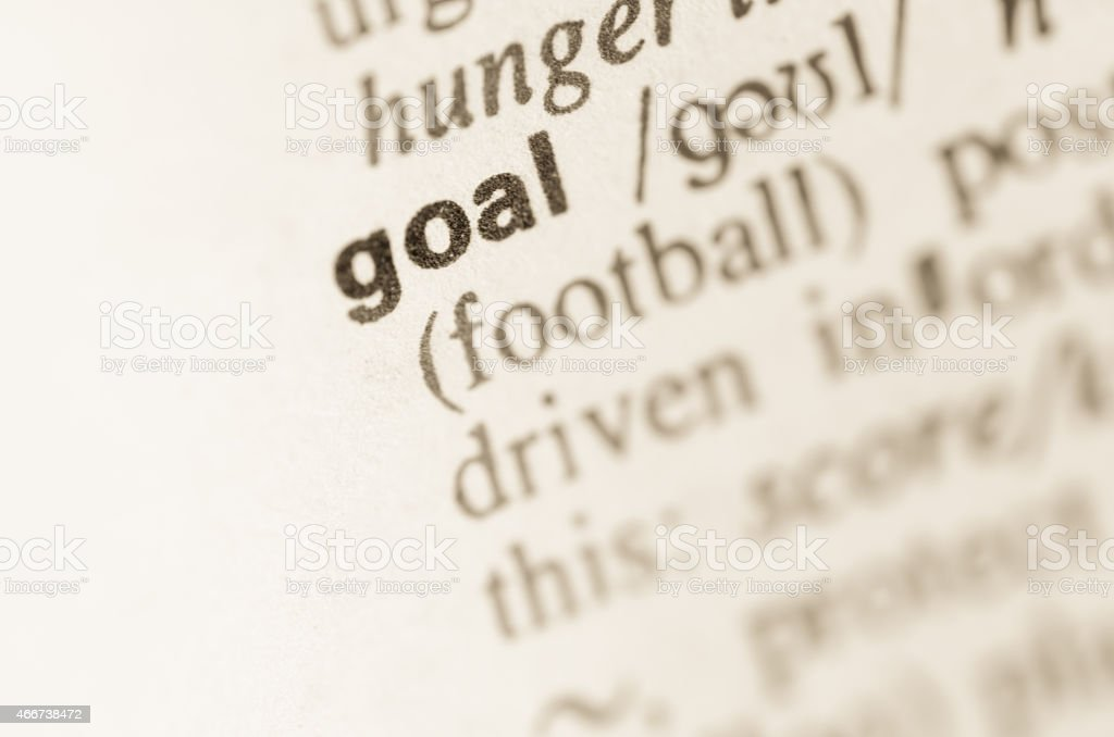 Dictionary definition of word goal stock photo
