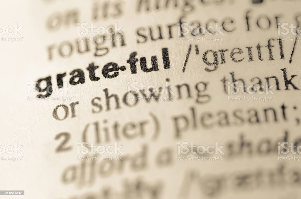 Dictionary definition of word grateful stock photo