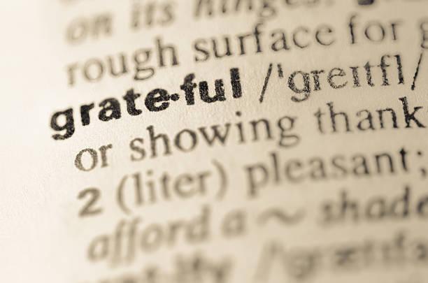 dictionary definition of word grateful - bedankt stockfoto's en -beelden