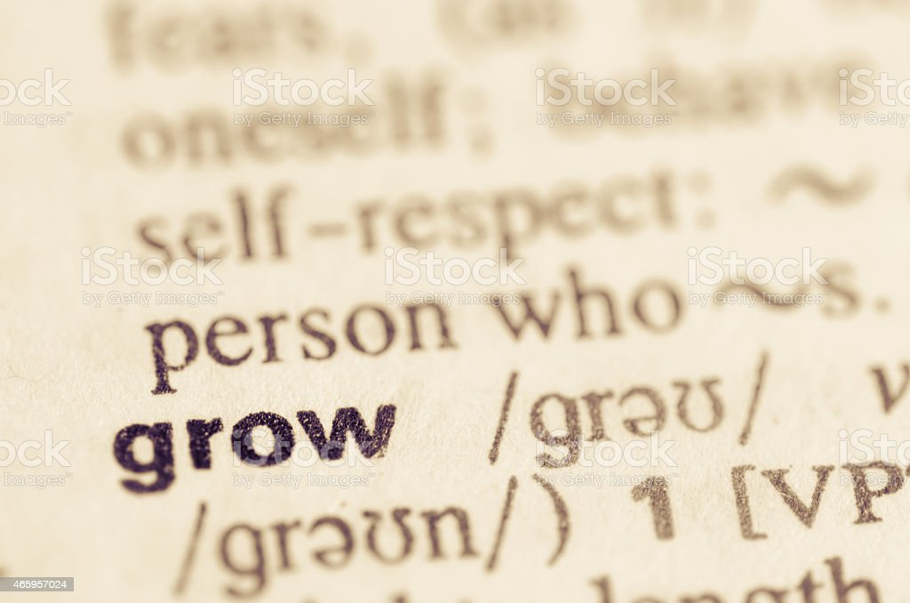 Dictionary definition of word grow stock photo