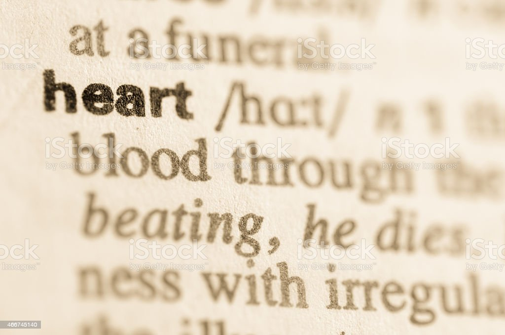 Dictionary definition of word heart stock photo