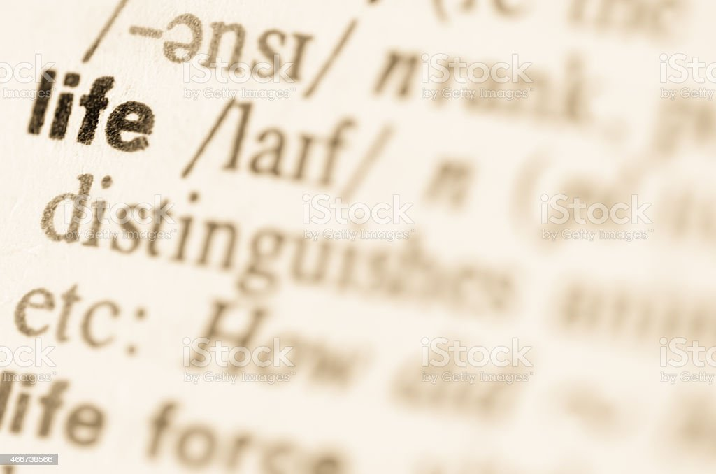 Dictionary definition of word life stock photo