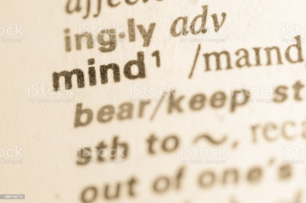 Dictionary definition of word mind stock photo