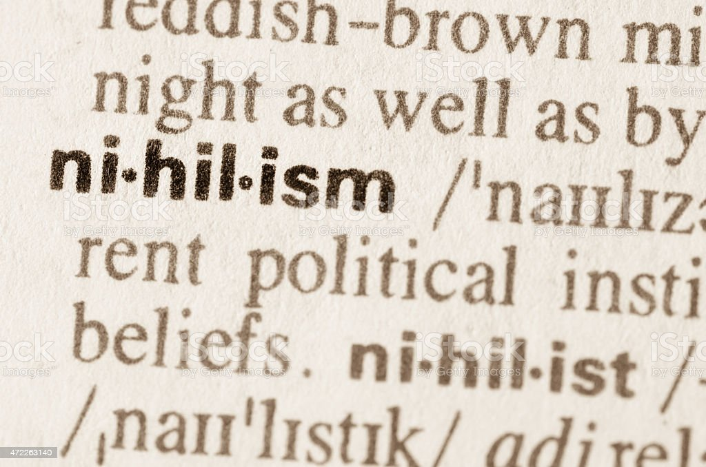 Dictionary definition of word nihilism stock photo