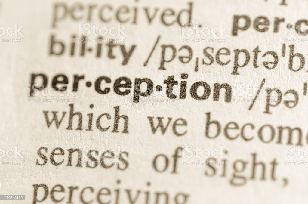 Dictionary definition of word perception stock photo