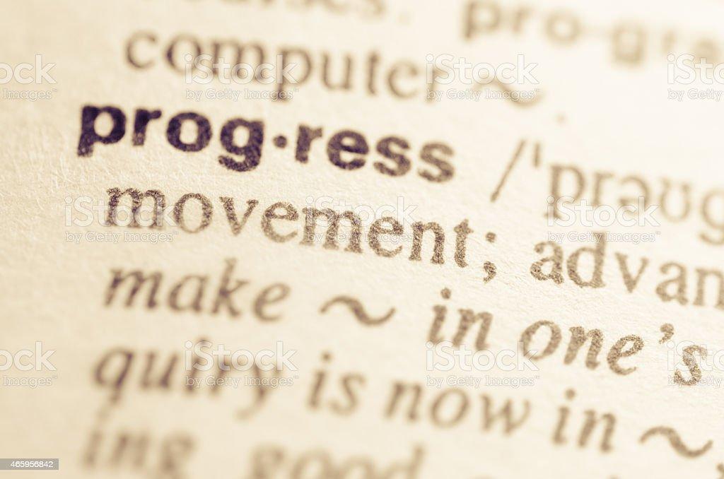 Dictionary definition of word progress stock photo