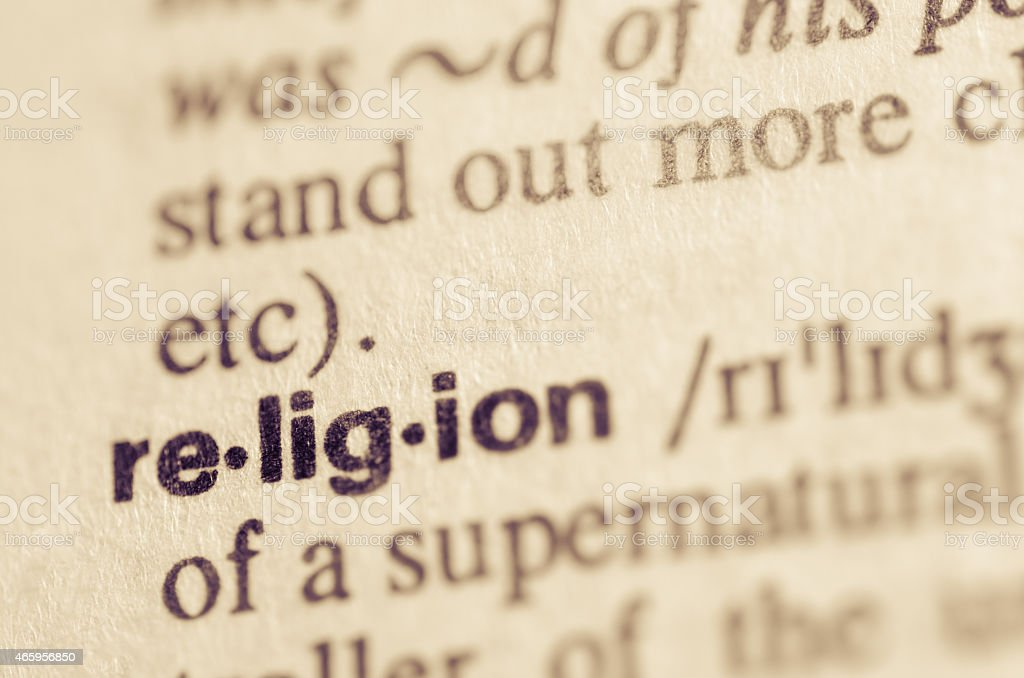 Dictionary definition of word religion stock photo