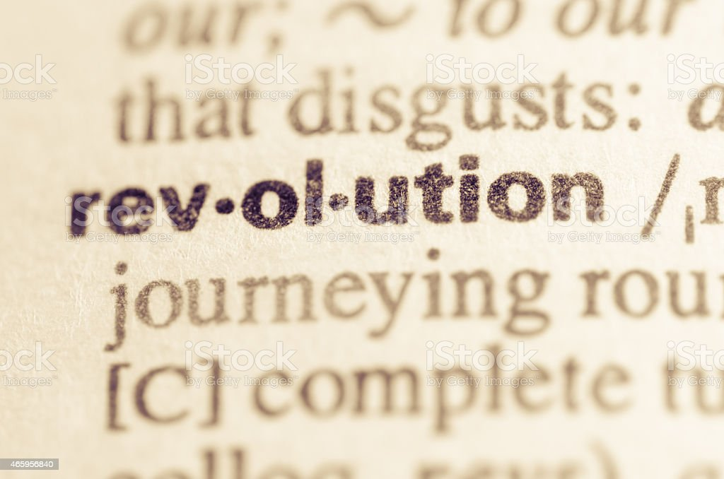 Dictionary definition of word revolution stock photo