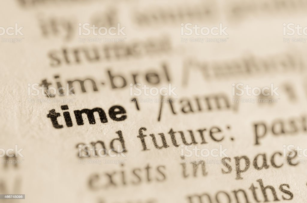 Dictionary definition of word time stock photo