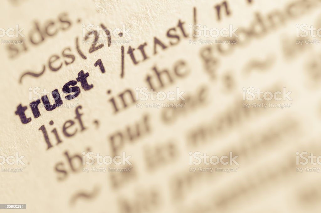 Dictionary definition of word trust stock photo