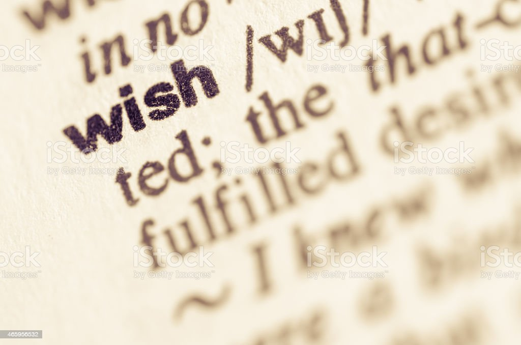 Dictionary definition of word wish stock photo