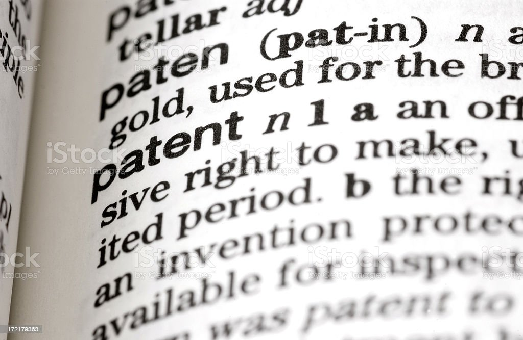 Dictionary Definition: Patent royalty-free stock photo