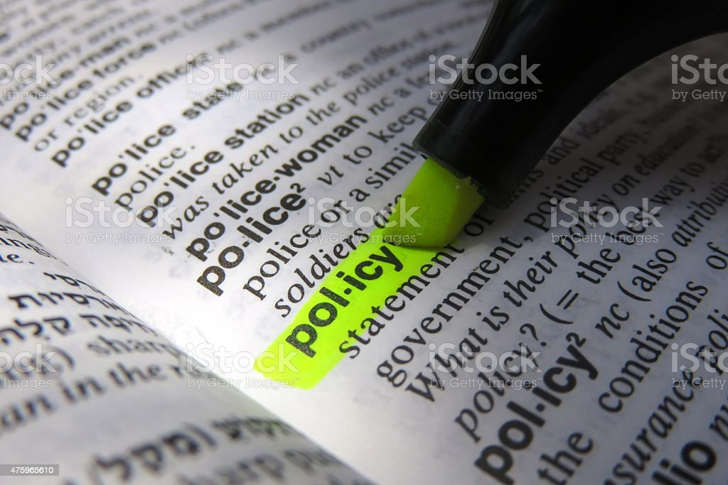 Dictionary definition : policy stock photo