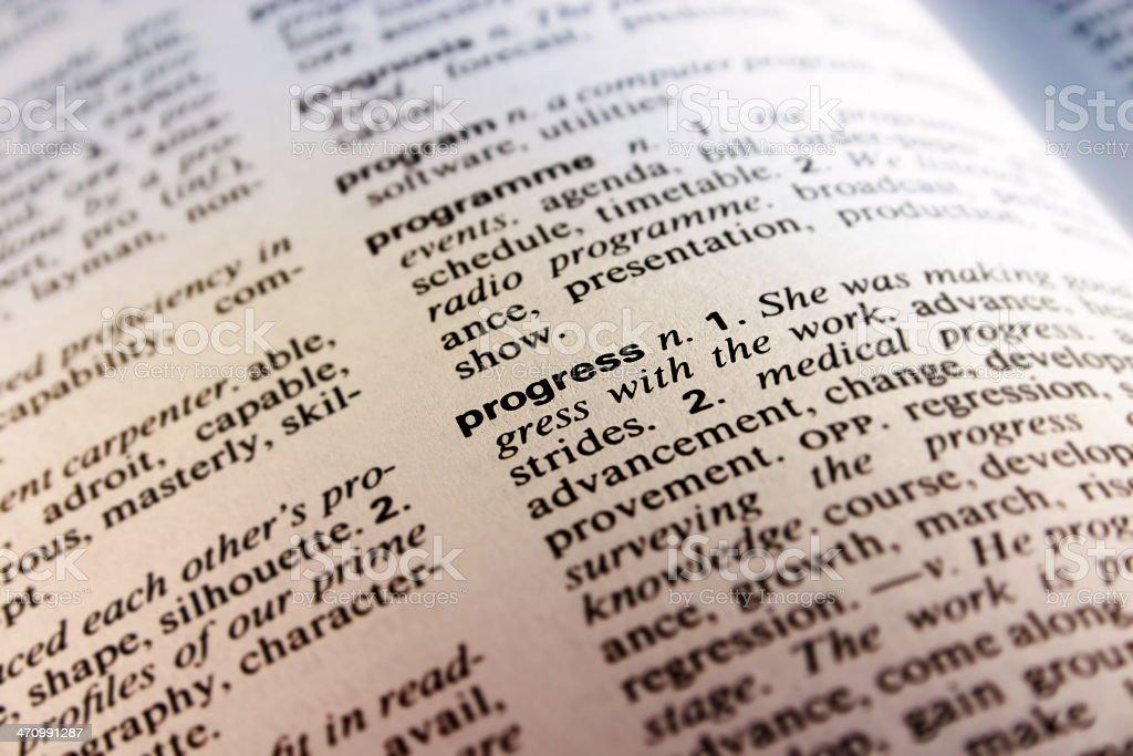 Dictionary - Progress royalty-free stock photo