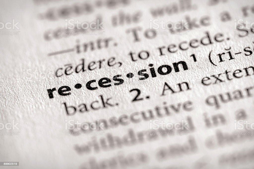 Dizionario serie-economia: Recessione foto stock royalty-free