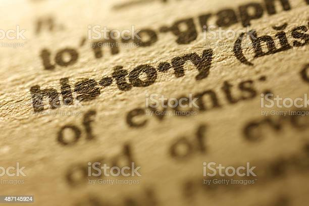 "Selective focus on the word "" History "",shot with very shallow depth of field."