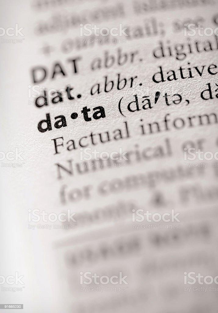 Dictionary Series - Info: data royalty-free stock photo